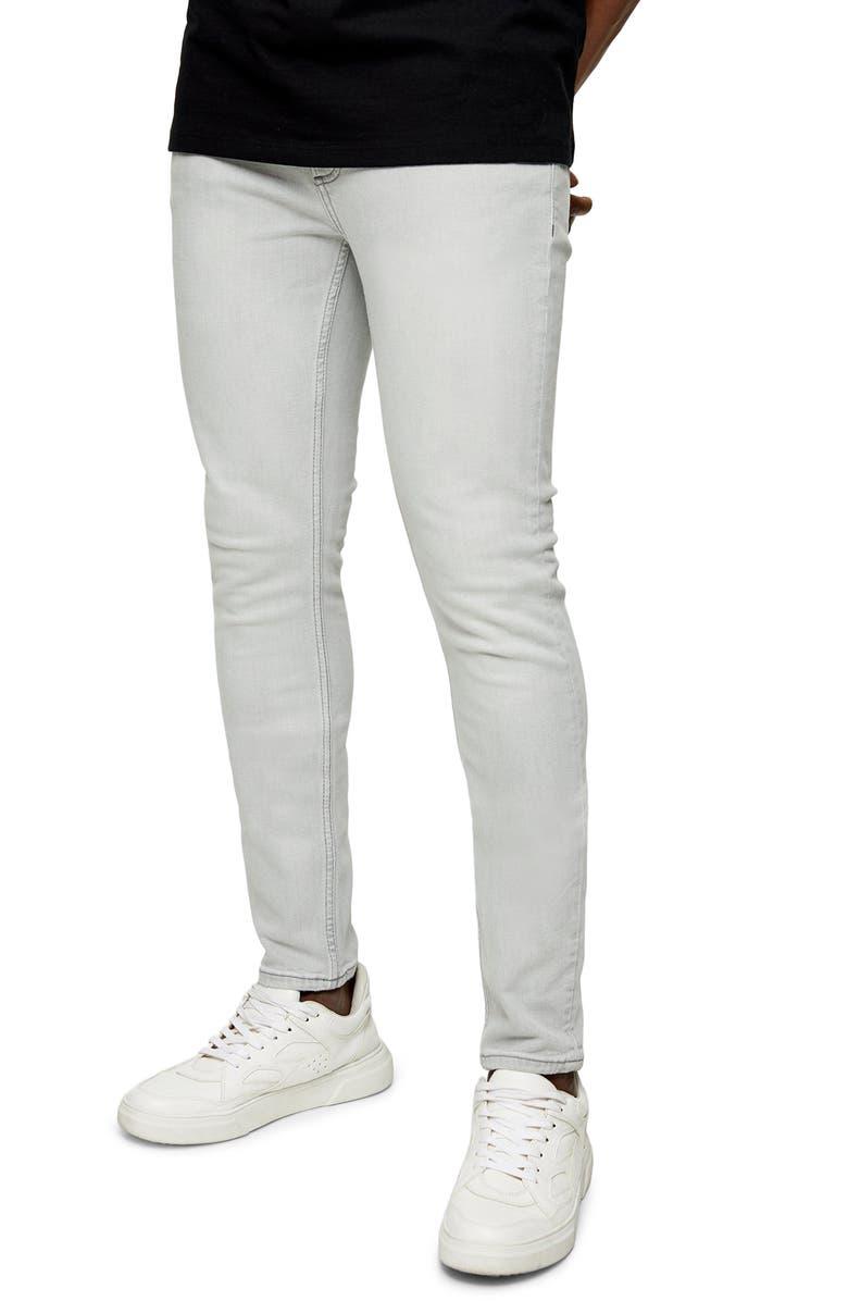 TOPMAN Skinny Jeans, Main, color, GREY