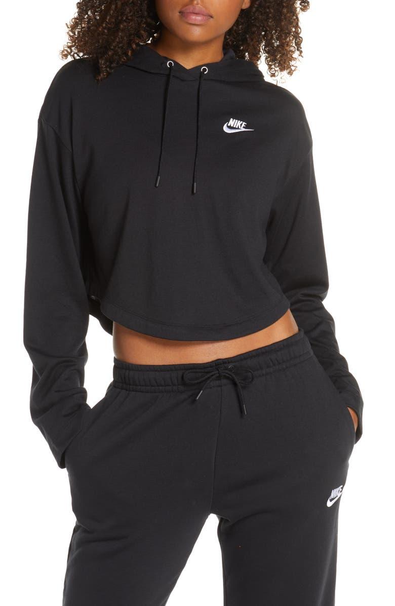 NIKE Sportswear Cropped Hoodie, Main, color, BLACK/ BLACK/ WHITE