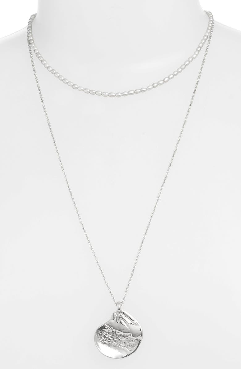 SOMETHING NAVY Freshwater Pearl Tiered Necklace, Main, color, 030