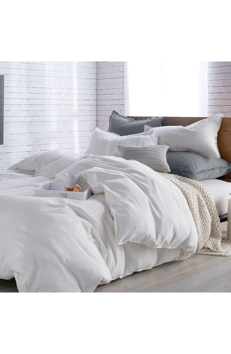 DKNY PURE Comfy White Duvet Cover, Main, color, WHITE