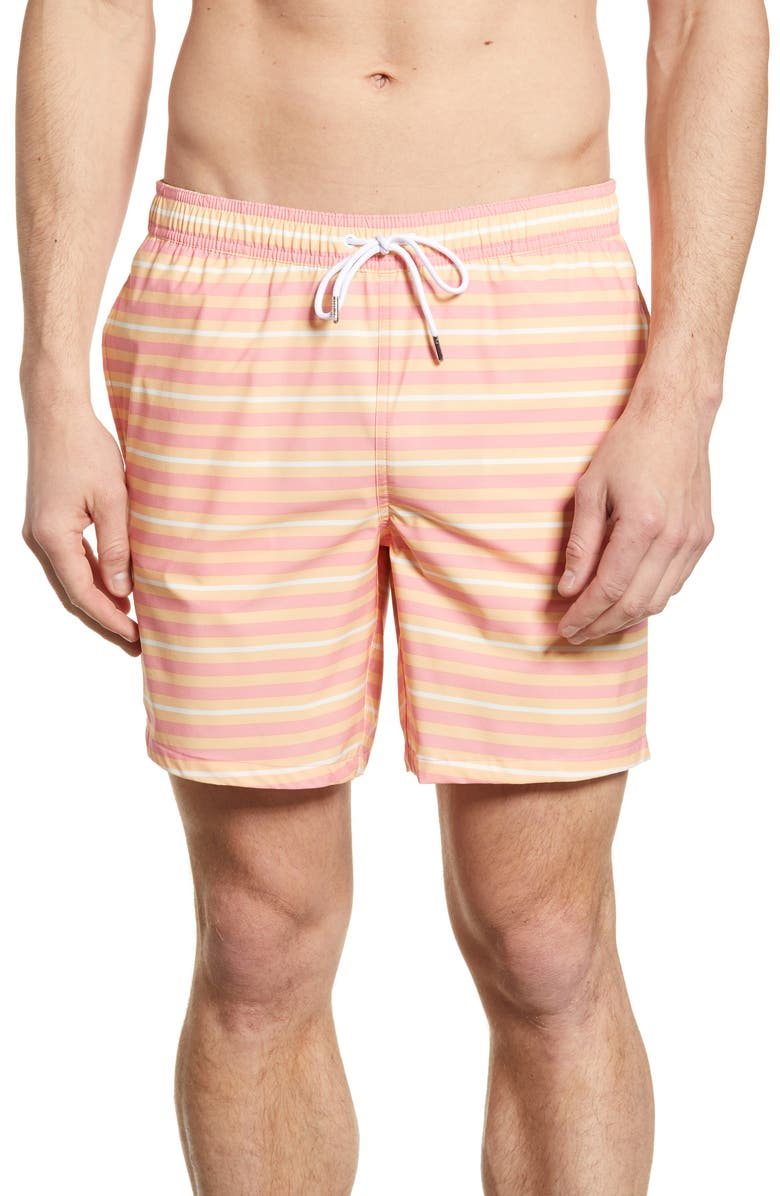 BONOBOS E-Waist 7-Inch Swim Trunks, Main, color, SNORKLE STRIPE