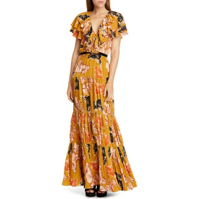 Johanna Ortiz Ruffle Floral Print Crepe De Chine Maxi Dress, Yellow