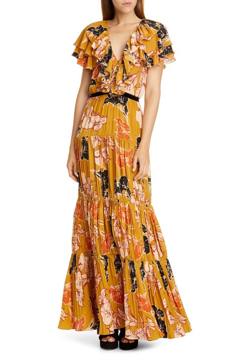 JOHANNA ORTIZ Ruffle Floral Print Crepe de Chine Maxi Dress, Main, color, WHISKEY SOUR DAYS