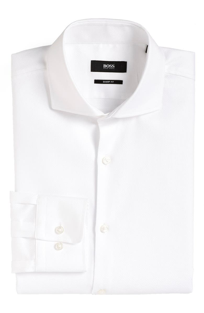 BOSS Sharp Fit Dress Shirt, Main, color, 100