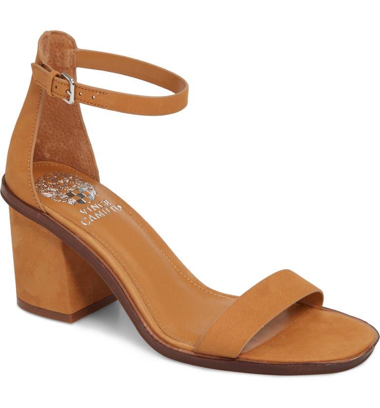 VINCE CAMUTO Kreestey Ankle Strap Sandal, Main, color, SADDLE