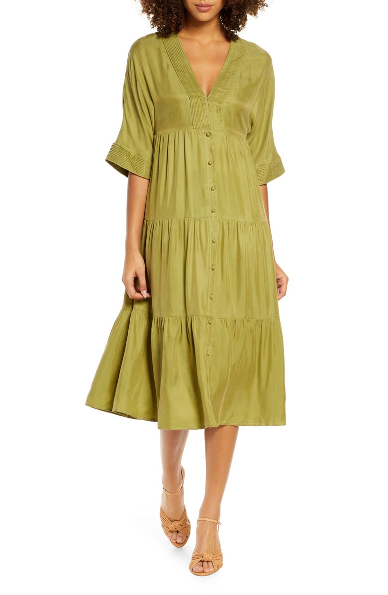 SANCIA Leah Tiered Midi Dress, Main, color, MELON