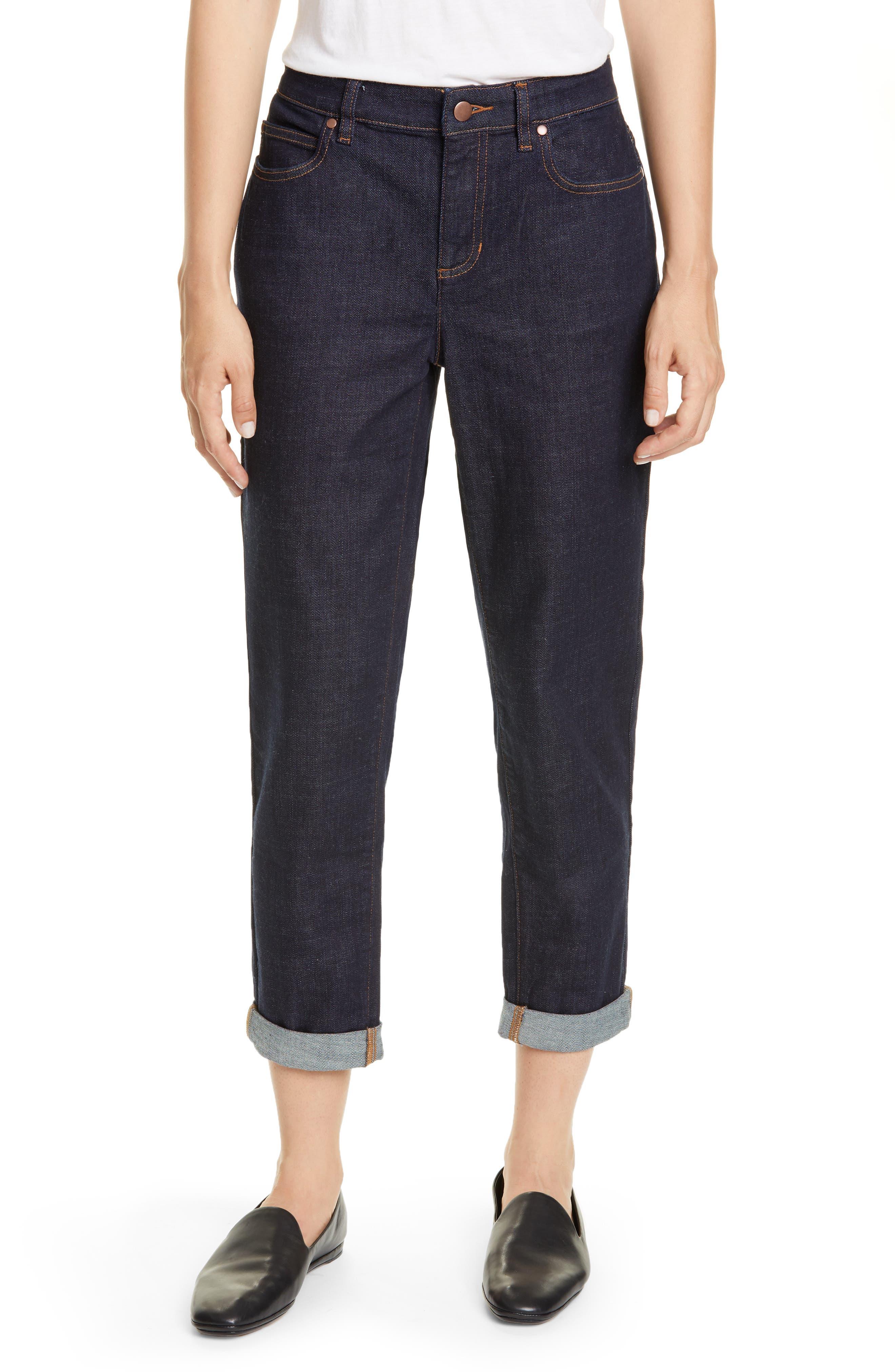 Eileen Fisher High Waist Boyfriend Jeans (Regular & Petite)