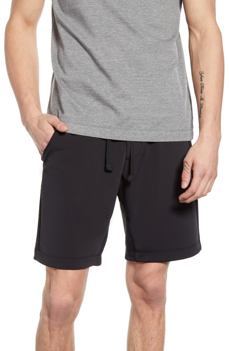 WINGS + HORNS Flash Knit Athletic Shorts, Main, color, BLACK