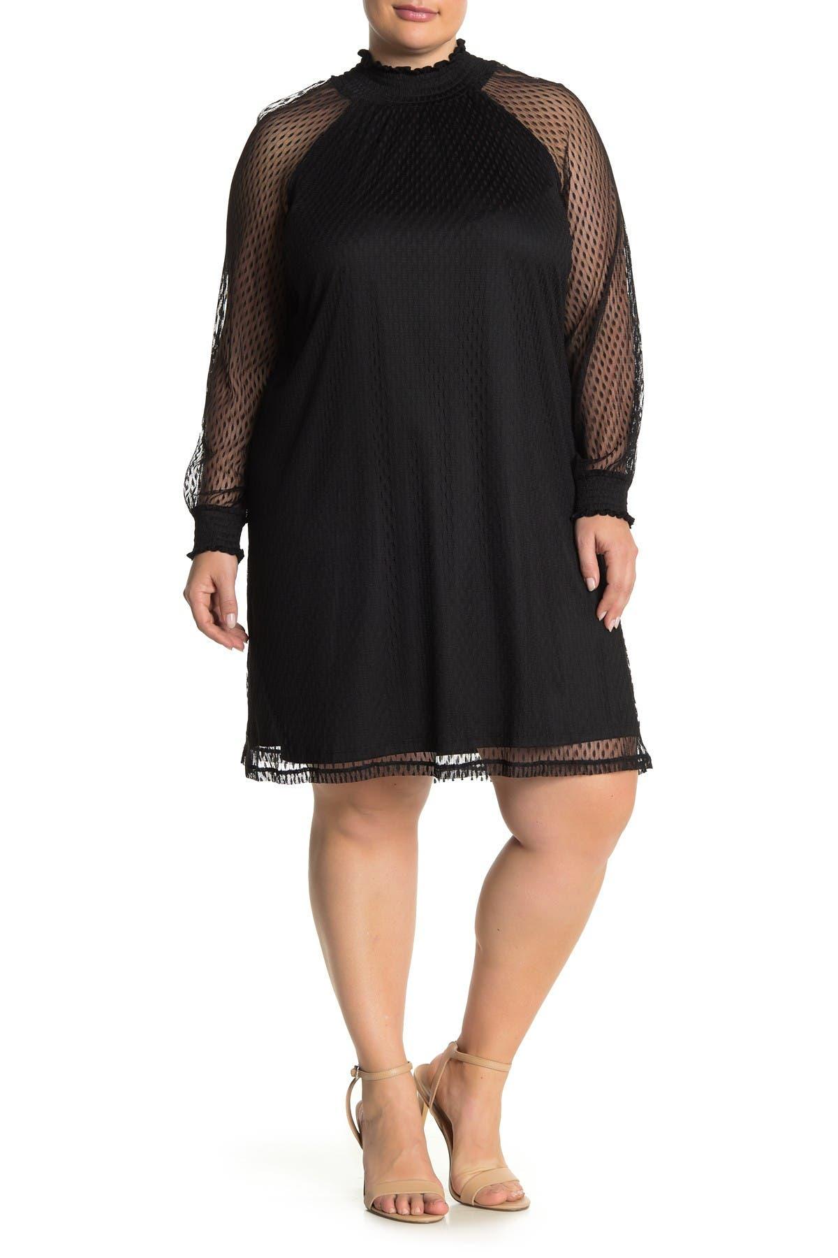 Image of Nina Leonard Shirred Mock Neck Lace Trapeze Dress