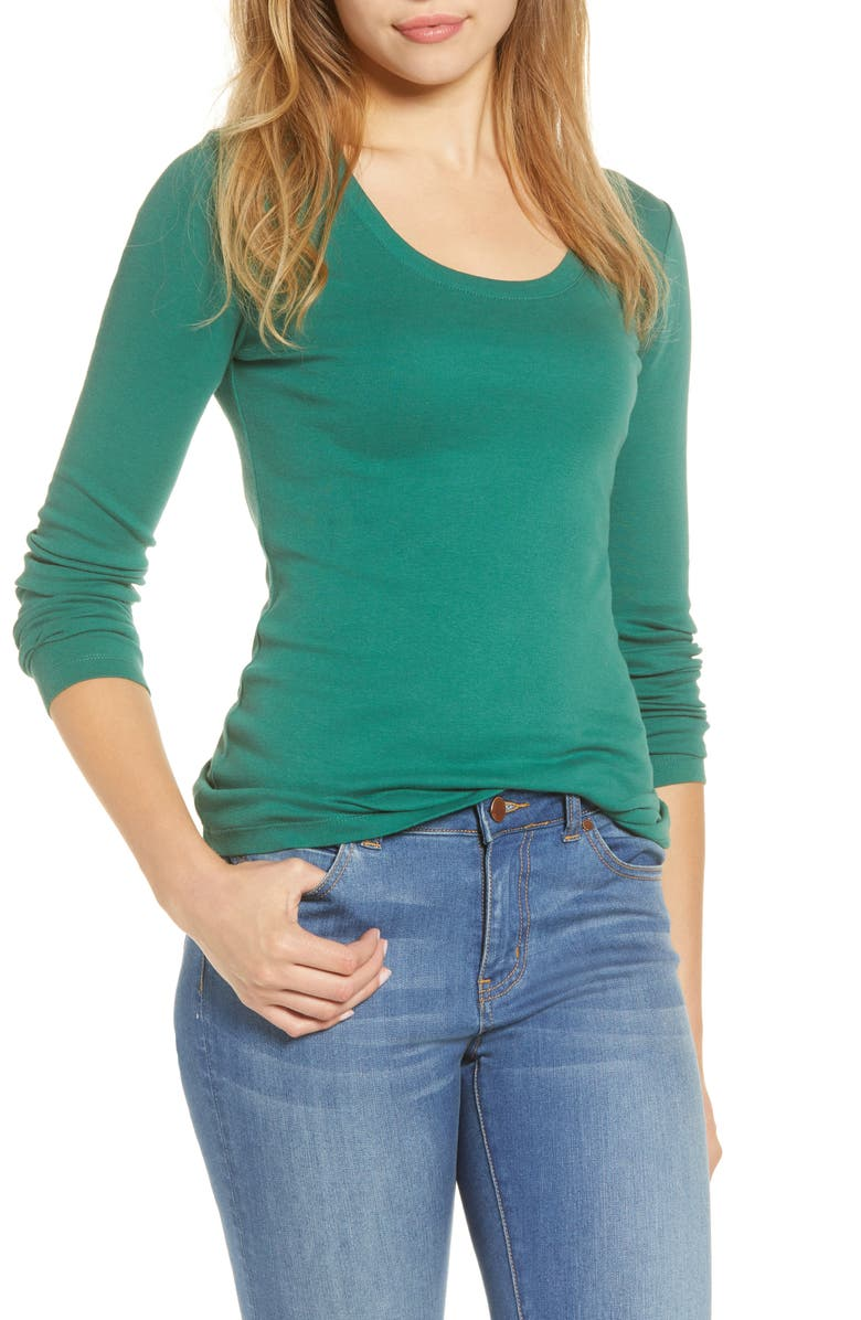 CASLON<SUP>®</SUP> 'Melody' Long Sleeve Scoop Neck Tee, Main, color, GREEN POSY