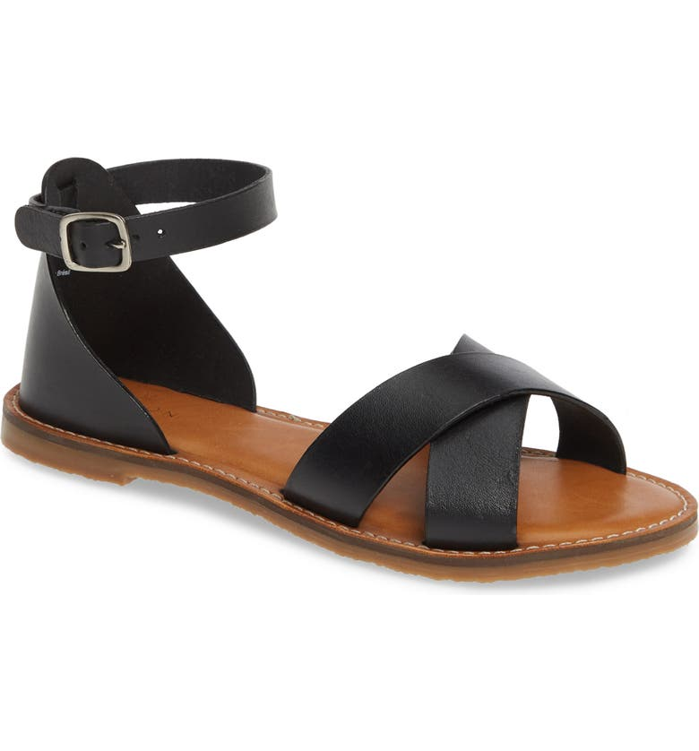 CASLON<SUP>®</SUP> Oliver Sandal, Main, color, BLACK LEATHER