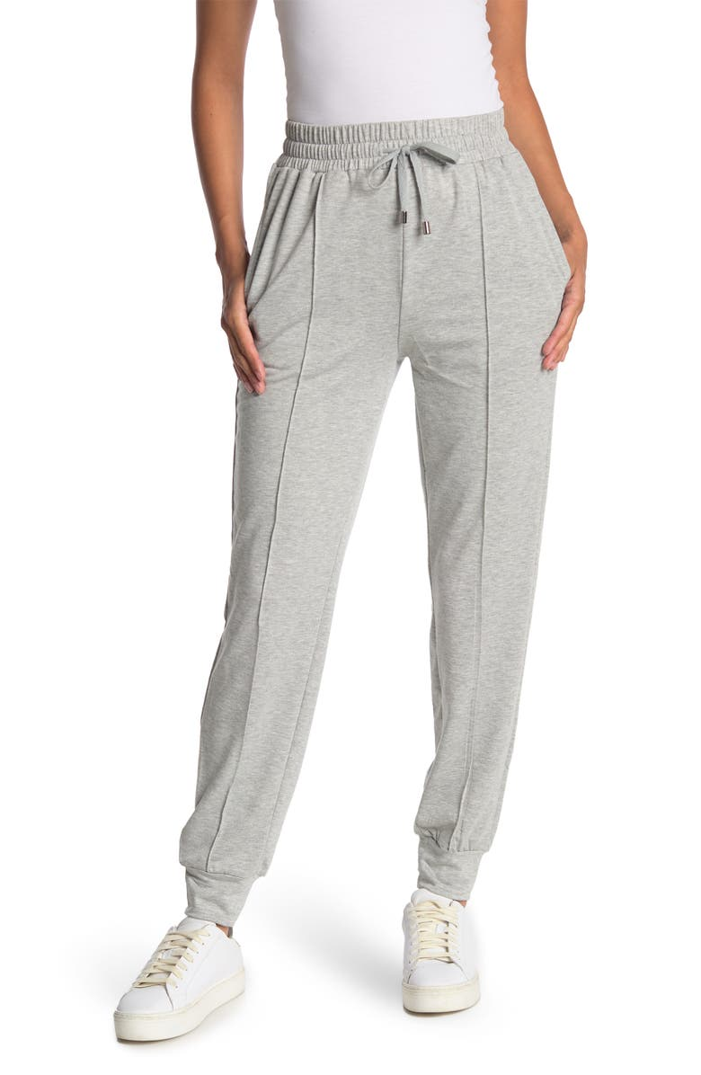 CYRUS Seamed Front French Terry Joggers, Main, color, LIGHT HEATHER GRAY