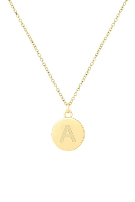 Image of Savvy Cie 18K Gold Vermeil 12mm Initial Pendant Necklace - Multiple Initials Available