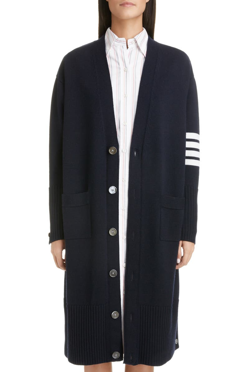 THOM BROWNE 4-Bar Longline Wool Cardigan, Main, color, NAVY