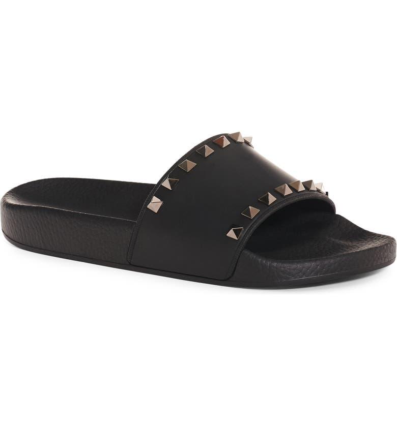 VALENTINO GARAVANI Rockstud Slide Sandal, Main, color, BLACK/ RUTHENIUM