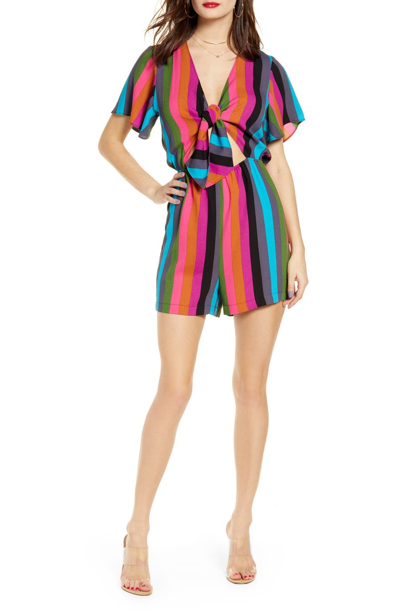 LEITH Tie Front Romper, Main, color, BLUE SAVVY SUMMER STRIPE