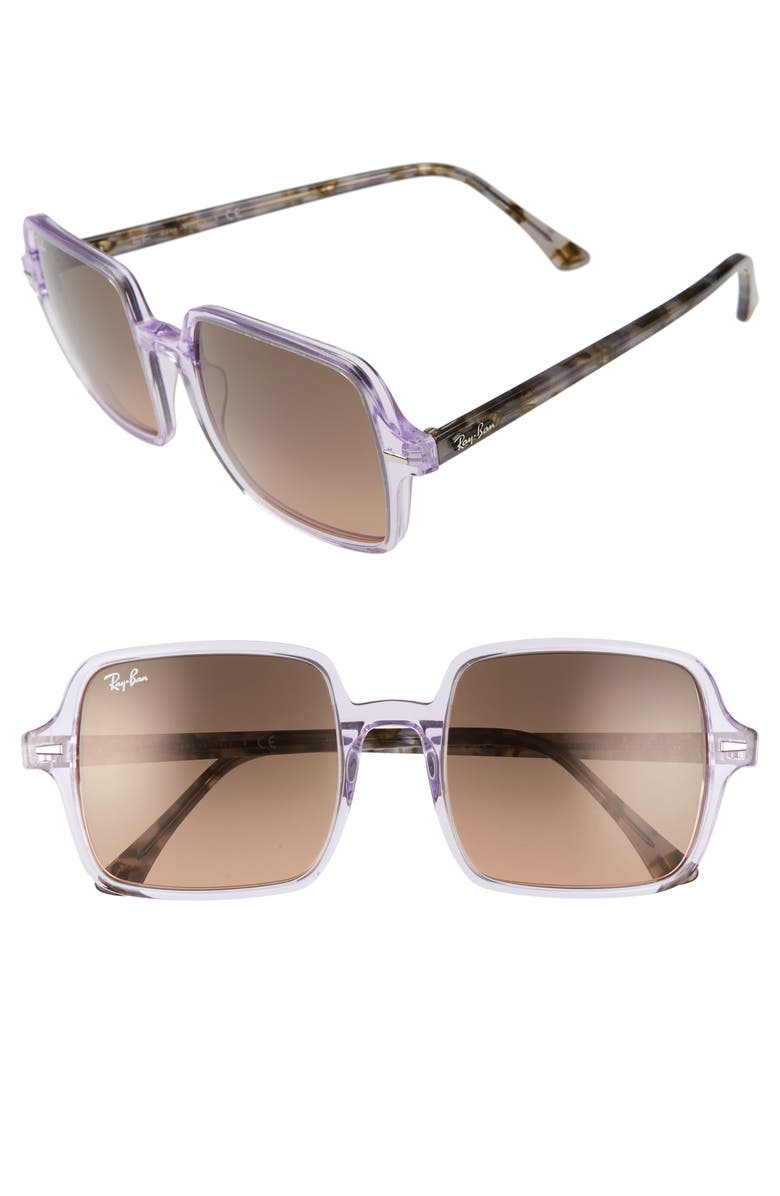 RAY-BAN 53mm Square Sunglasses, Main, color, VIOLET/ BROWN GRADIENT BLACK