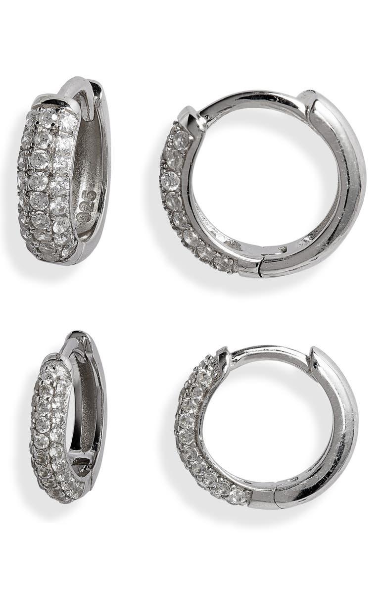 ADINA'S JEWELS Adina's Jewels Set of 2 Pavé Huggie Earrings, Main, color, 040