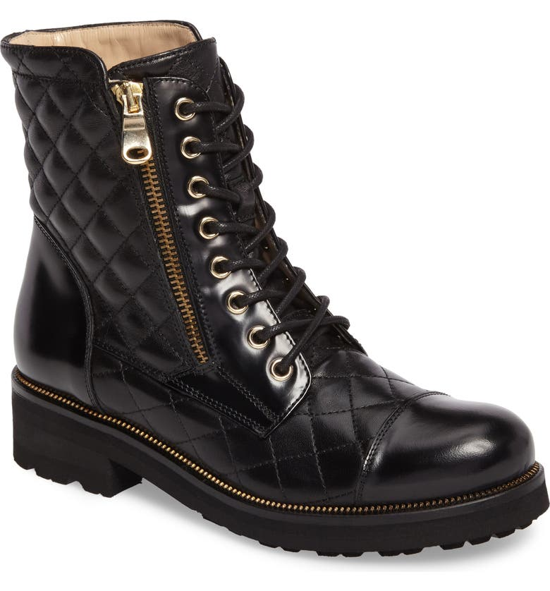RON WHITE Tiffany Water Resistant Combat Boot, Main, color, ONYX LEATHER