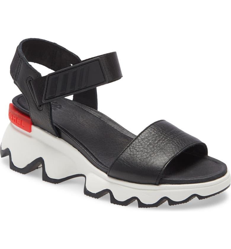 SOREL Kinetic Sandal, Main, color, BLACK LEATHER