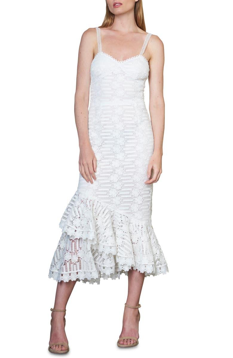 ML MONIQUE LHUILLIER Floral Lace Cocktail Dress, Main, color, WHITE