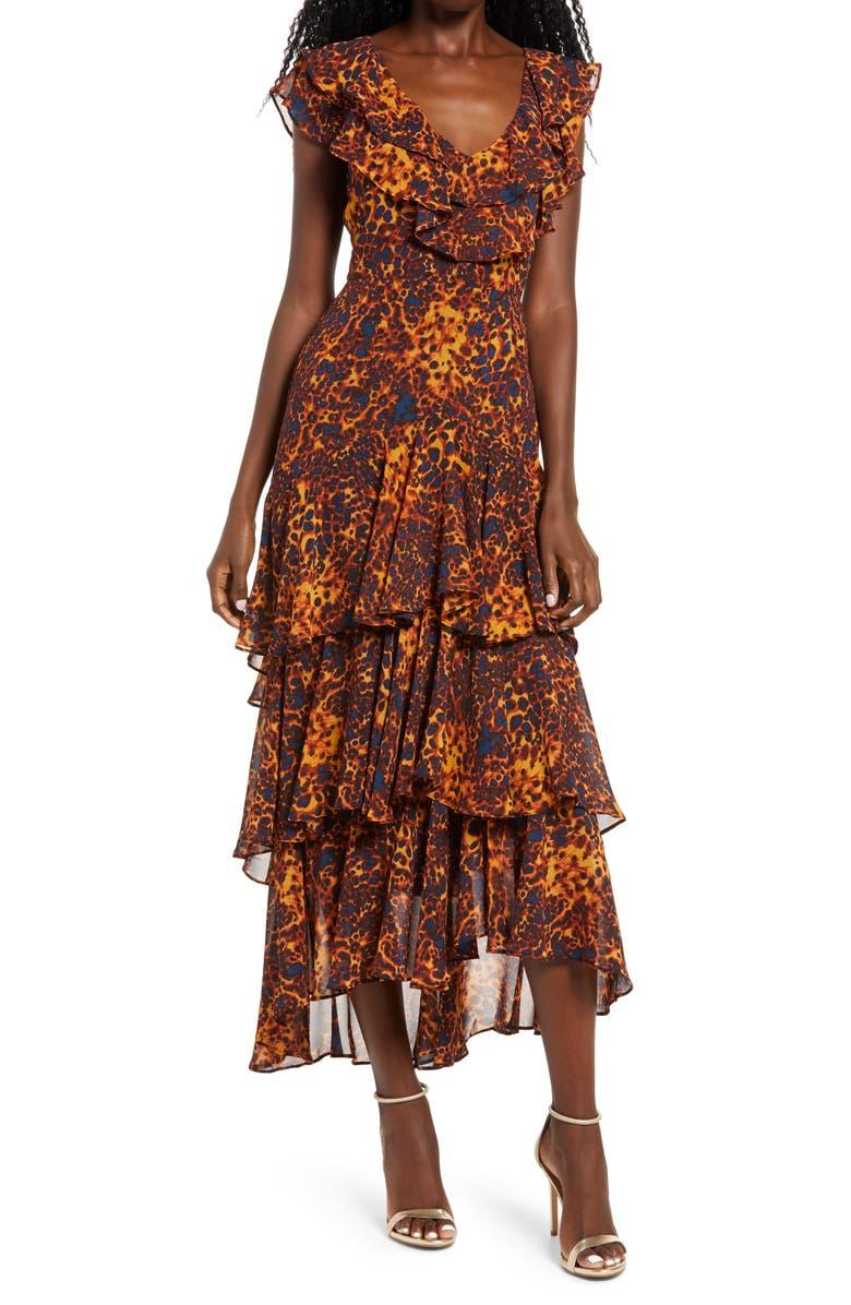 WAYF Chelsea Tiered Ruffle Maxi Dress, Main, color, TORTOISE