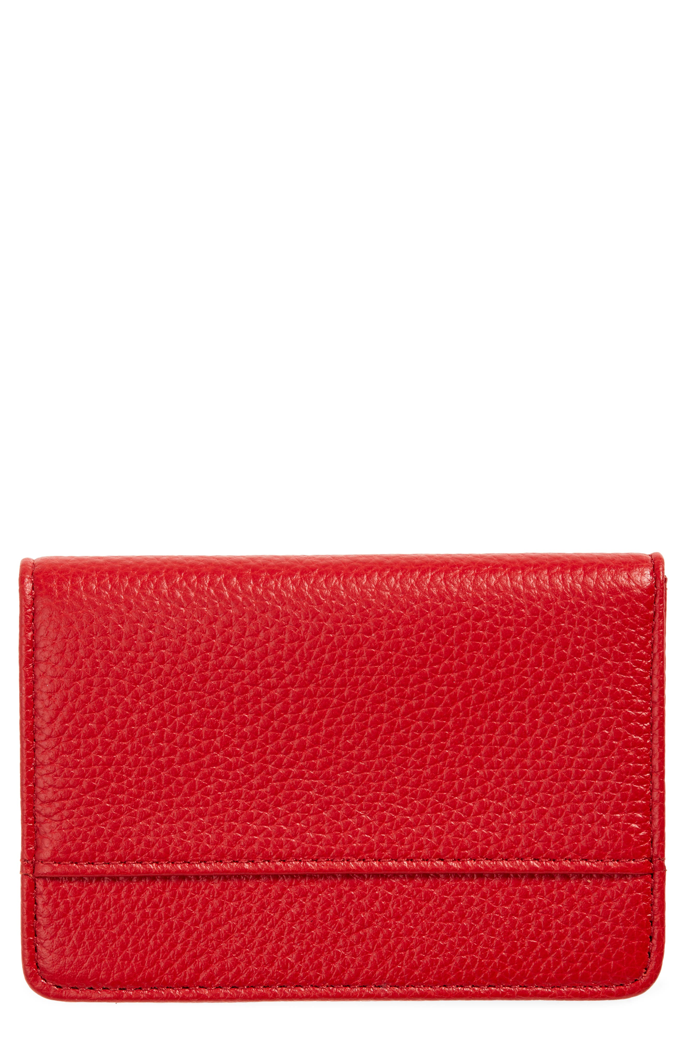 Richly pebbled leather distinguishes a compact card case perfectly sized to keep essential cards, a bit of cash and your ID neatly organized. Style Name: Nordstrom Ruby Pebbled Leather Cardholder. Style Number: 5674473. Available in stores.