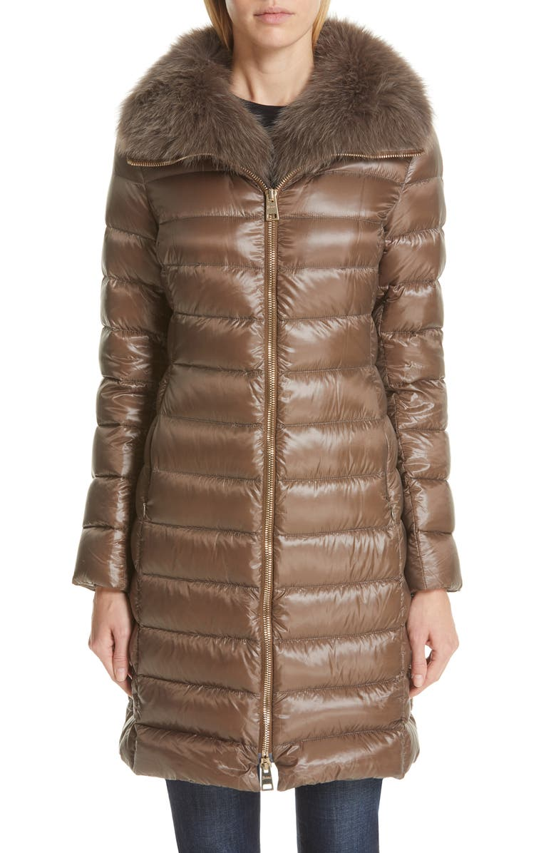 HERNO Quilted Down Puffer Coat with Removable Genuine Fox Fur Collar, Main, color, CHESTNUT