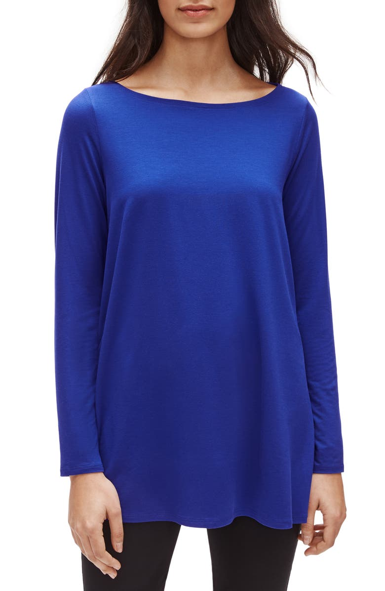 EILEEN FISHER Bateau Neck Tunic, Main, color, ROYAL