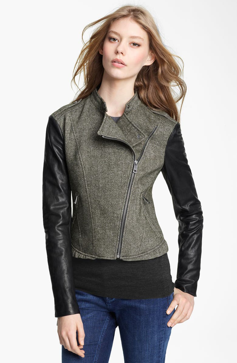 BURBERRY BRIT Asymmetrical Zip Jacket, Main, color, 001