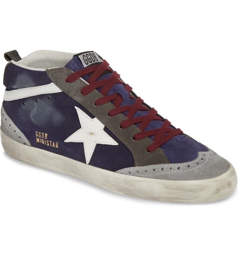 GOLDEN GOOSE Mid Star Sneaker, Main, color, NAVY/ WHITE