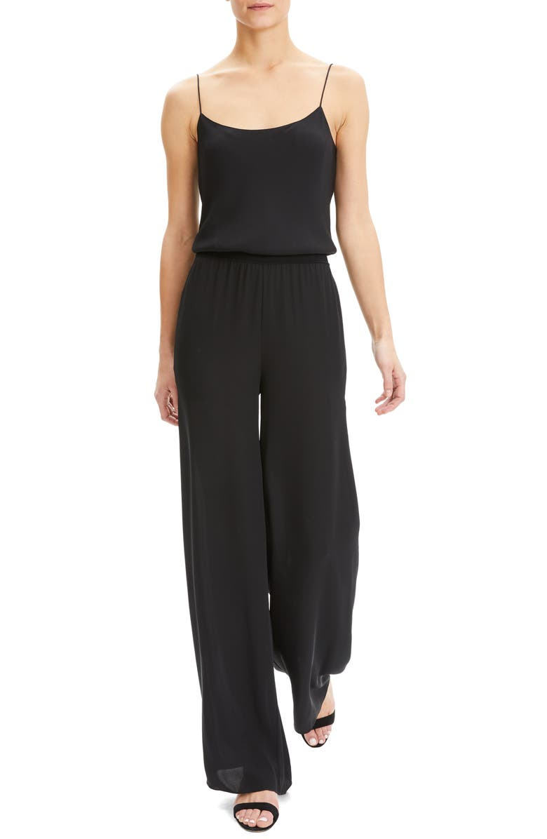 THEORY Sleeveless Silk Jumpsuit, Main, color, 001