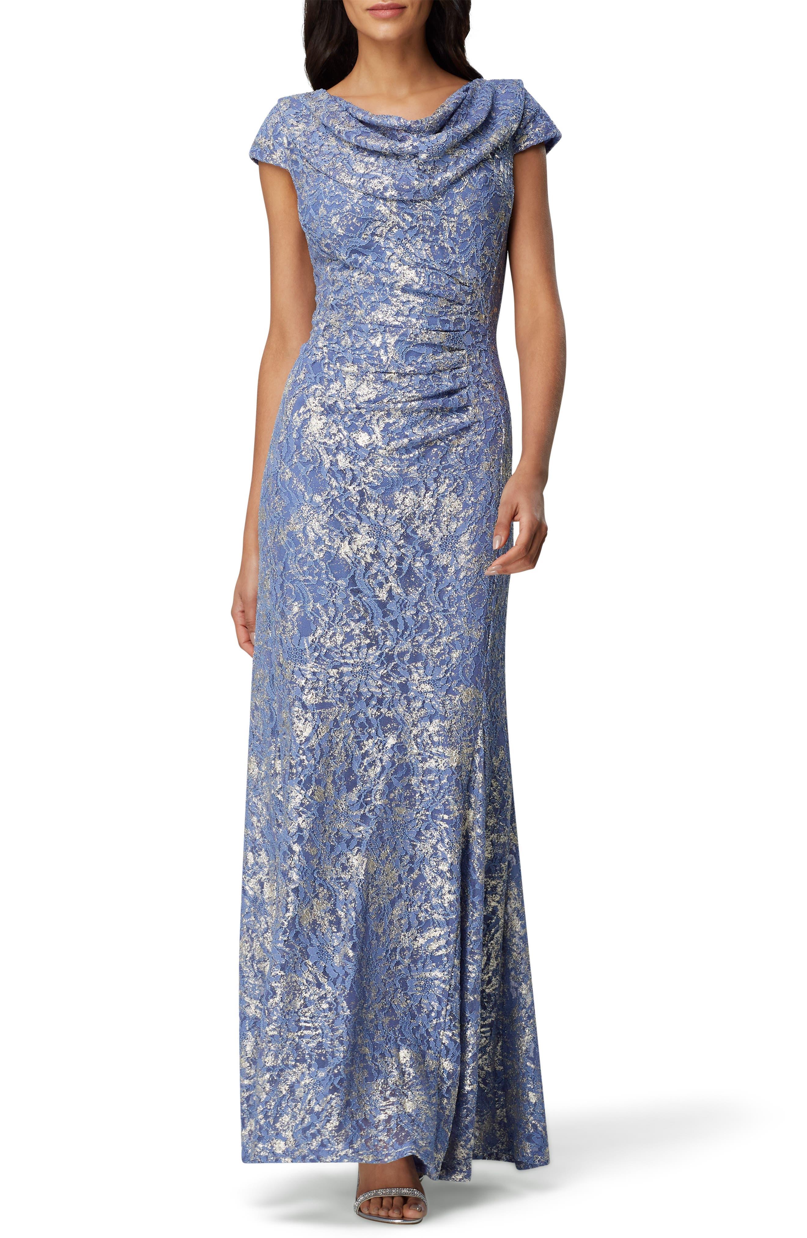 Tahari Cowl Neck Metallic Lace Gown, Blue