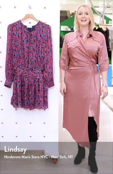 Gessie Long Sleeve Print Silk Dress, sales video thumbnail