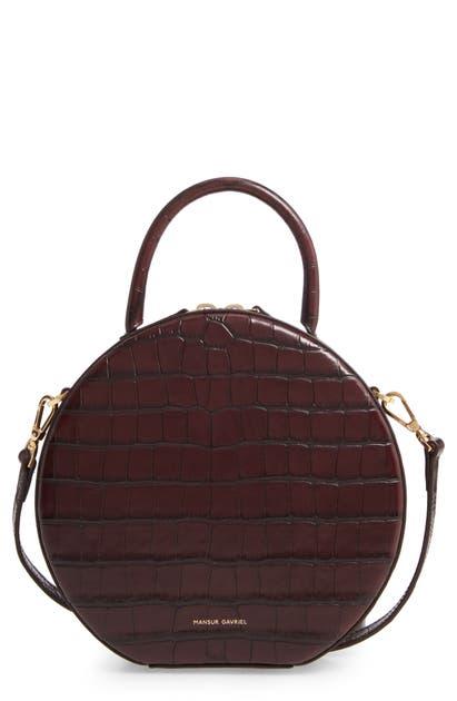 Mansur Gavriel Croc Embossed Leather Circle Crossbody Bag In Classic