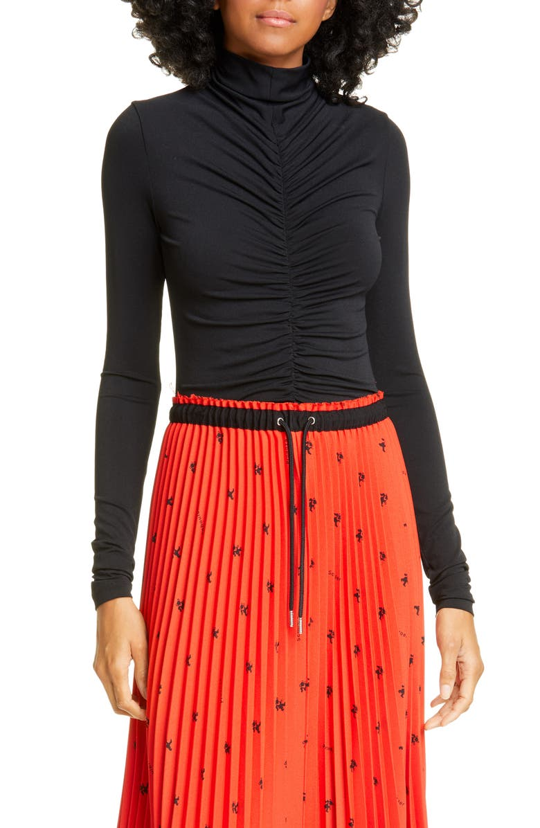 PROENZA SCHOULER WHITE LABEL Proenza Schouler PSWL Ruched Jersey Top, Main, color, BLACK