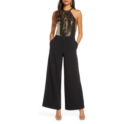 Julia Jordan Metallic Mesh Wide Leg Halter Jumpsuit, Metallic