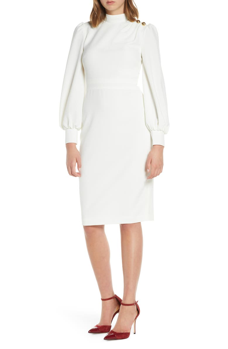 ELIZA J Button Shoulder Long Sleeve Dress, Main, color, IVORY