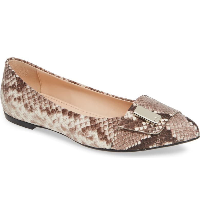 AGL Pointy Toe Flat, Main, color, NATURAL SNAKE EMBOSSED LEATHER