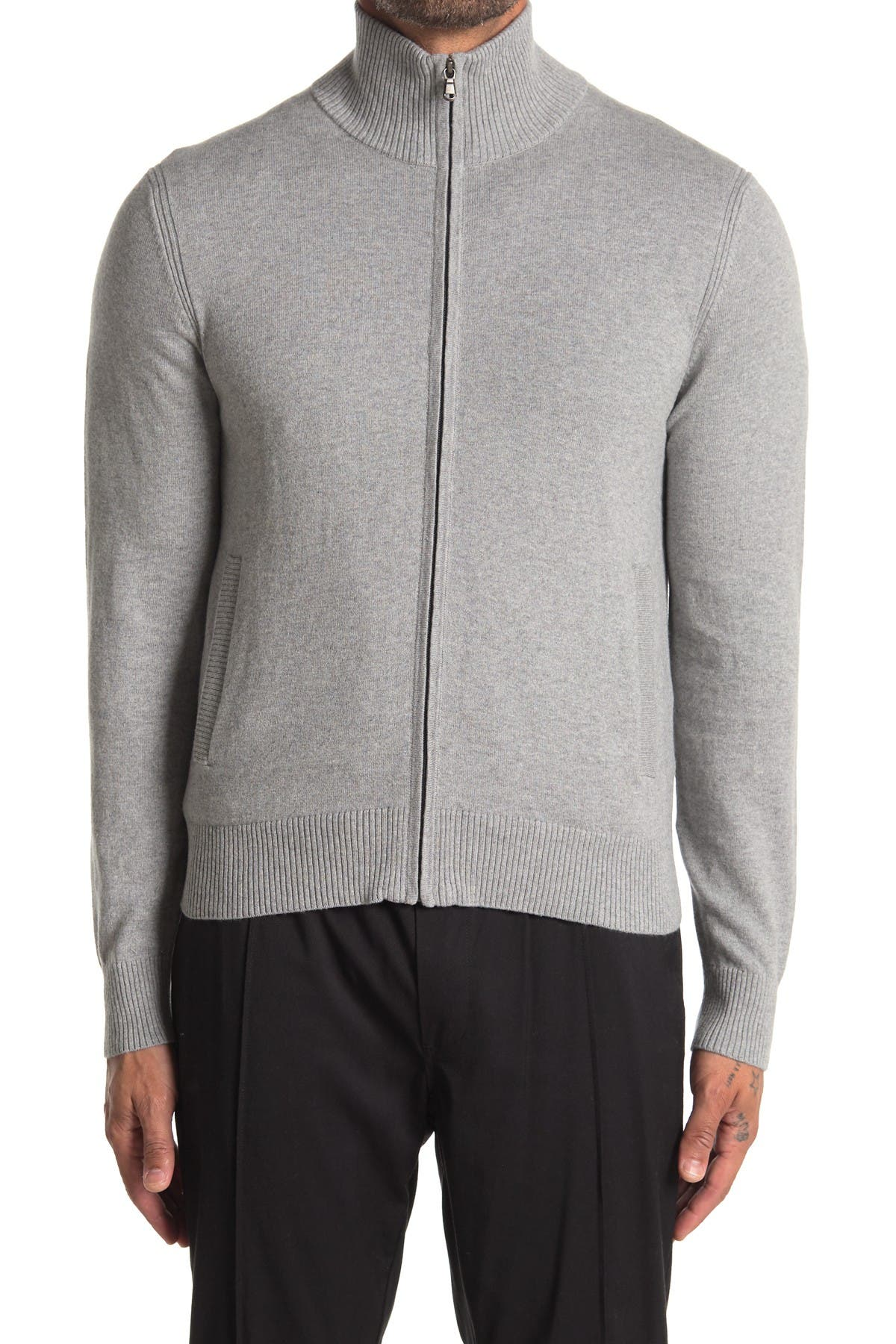 Image of AMICALE Full Zip Cotton Cashmere Blend Sweater