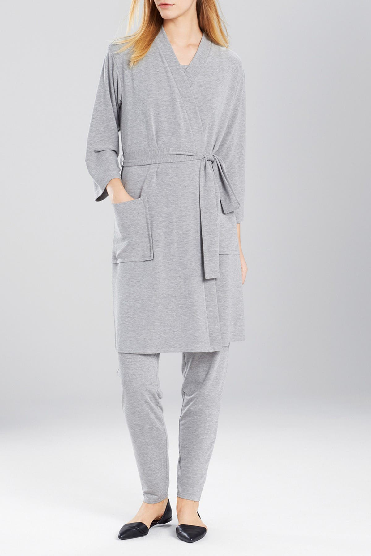 Image of N Natori Solid Long Sleeve Robe