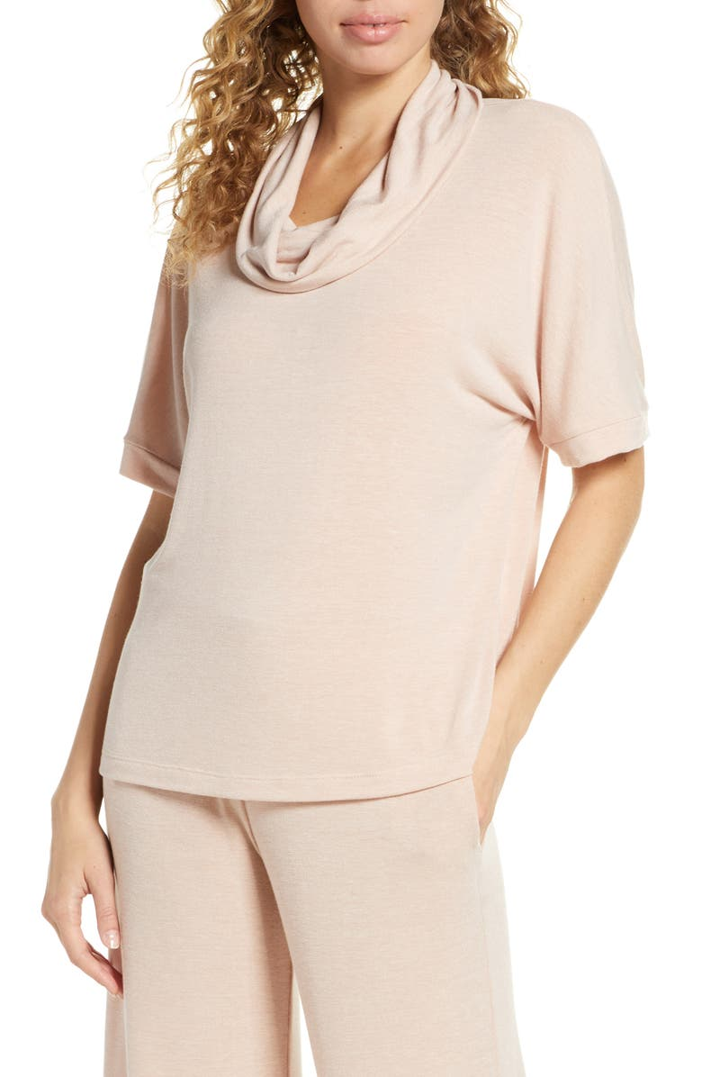 SOCIALITE Boxy Funnel Neck Top, Main, color, NUDE/ IVORY