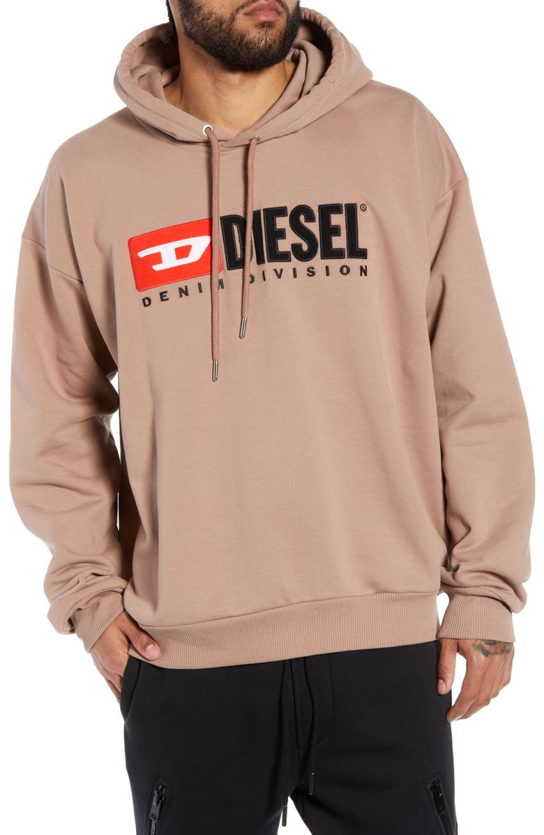 DIESEL<SUP>®</SUP> Division Embroidered Hoodie, Main, color, PINK
