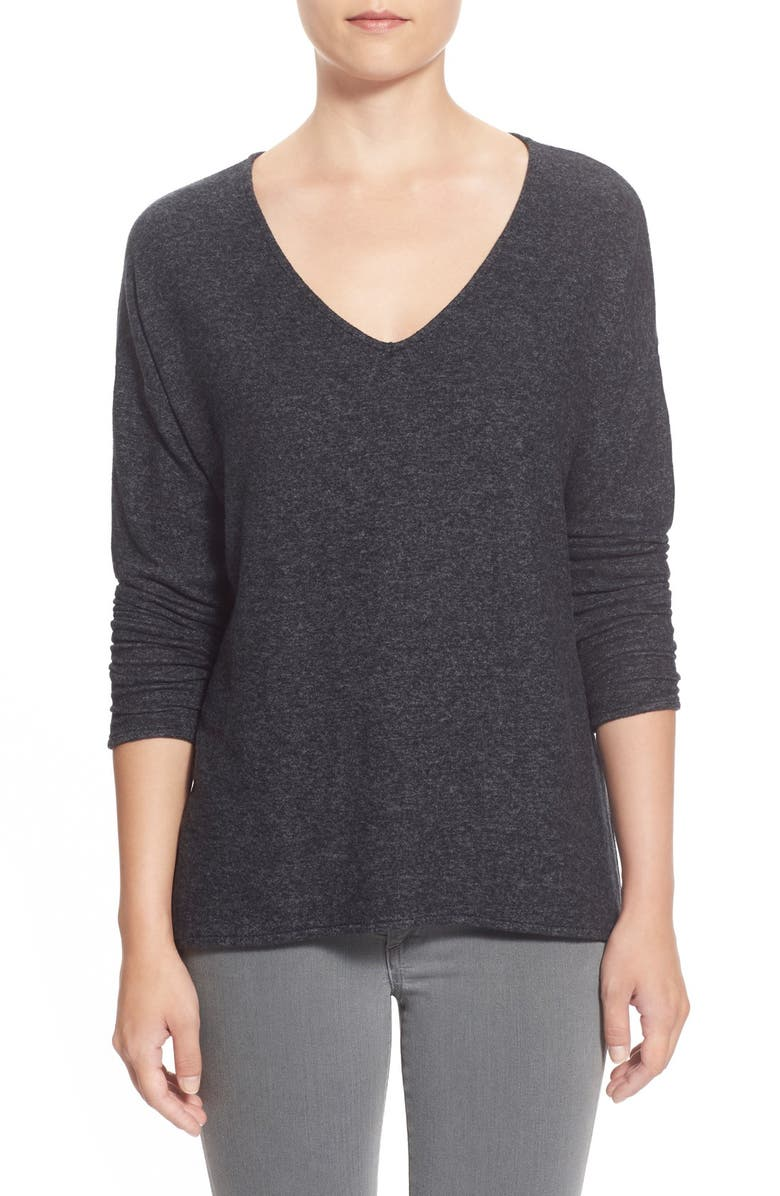 GIBSON 'Yummy Fleece' High/Low V-Neck Pullover, Main, color, 001