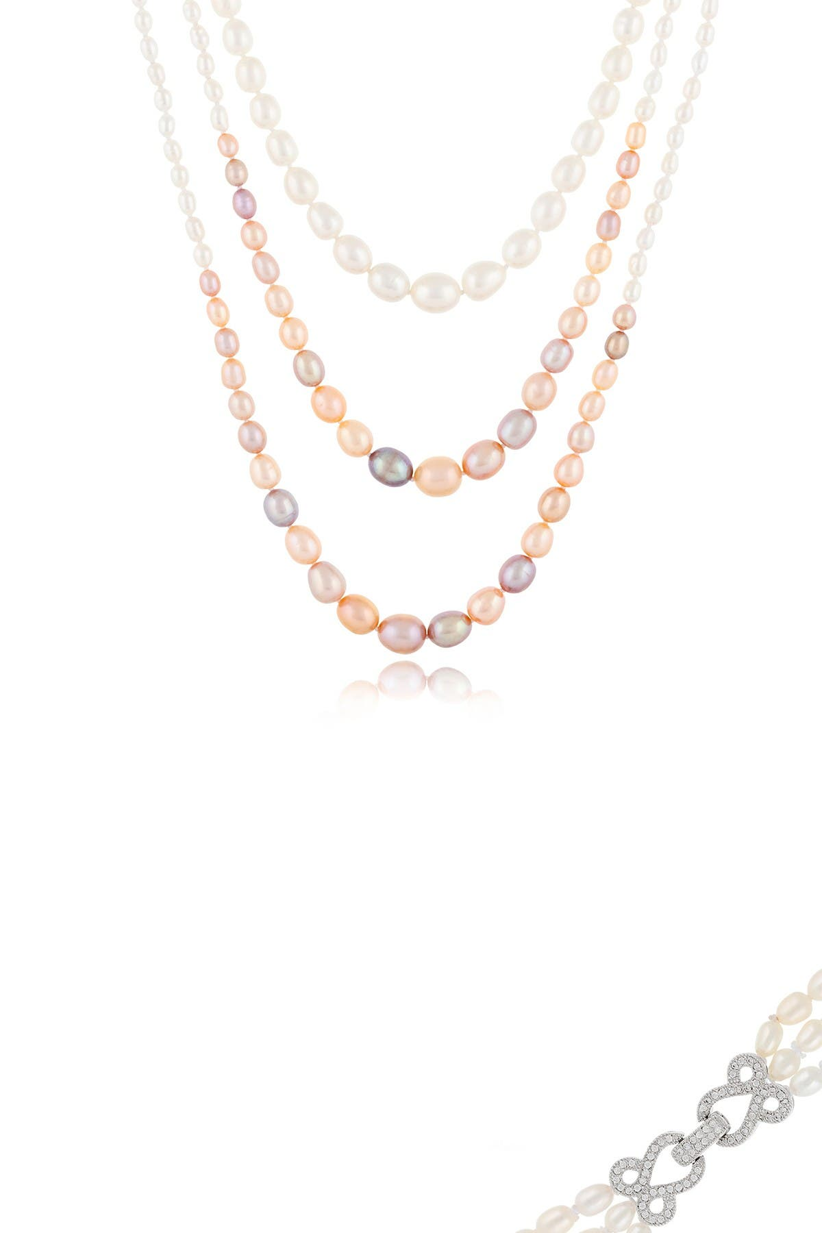 Image of Splendid Pearls Three Strand Multicolor 3-11mm Freshwater Pearl Necklace