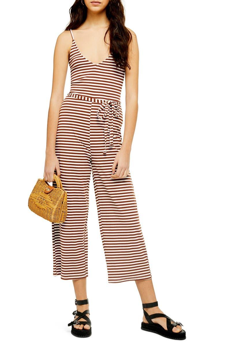 TOPSHOP Ruth Stripe Crop Jumpsuit, Main, color, BROWN MULTI