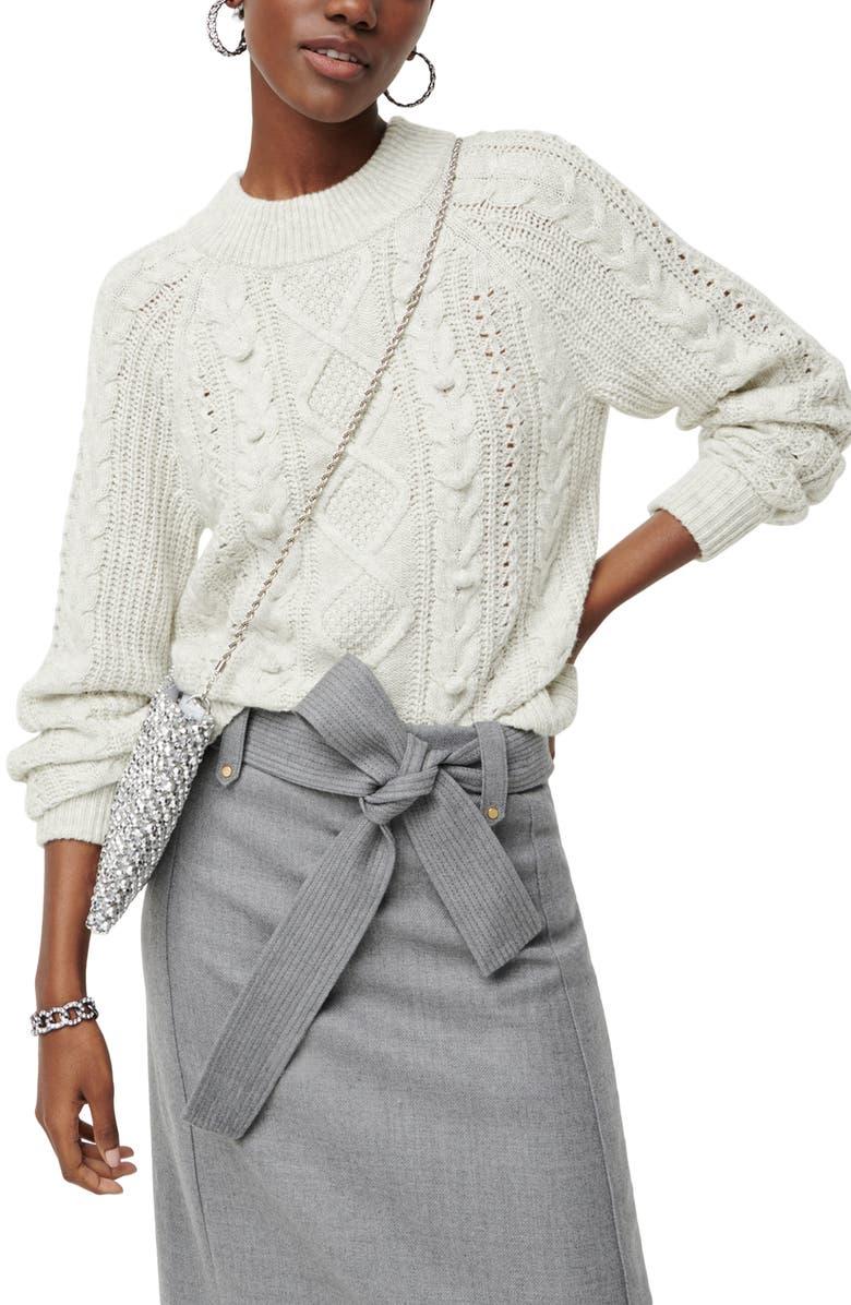 J.CREW Azra Cable Knit Pullover, Main, color, HEATHER PEBBLE