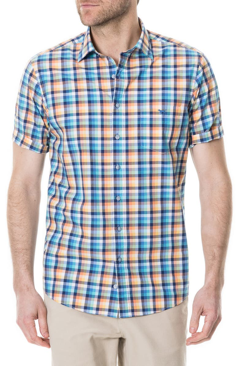 RODD & GUNN Scanlan Street Regular Fit Check Shirt, Main, color, CORAL REEF