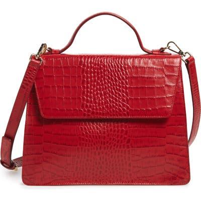 Nordstrom Ryder Croc Embossed Leather Top Handle Bag - Red