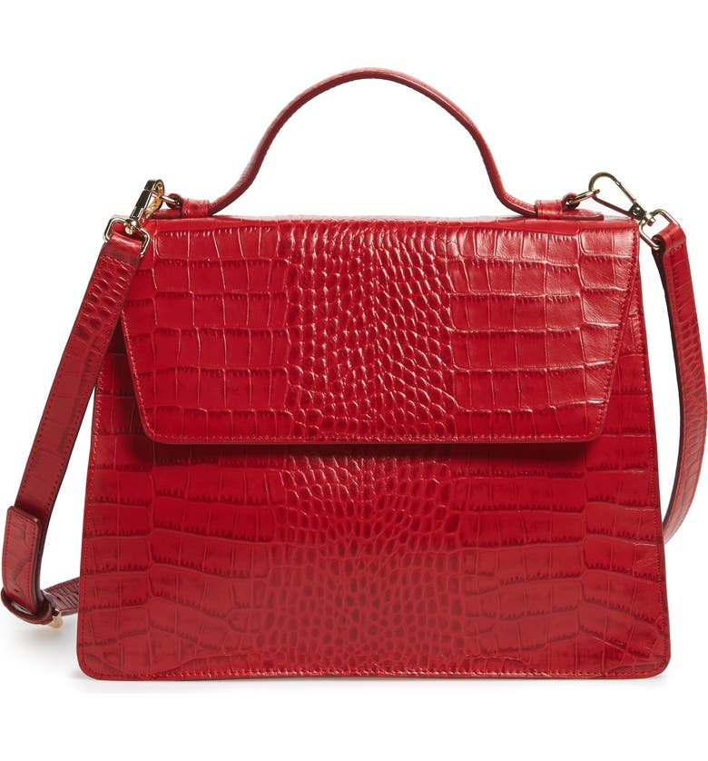 NORDSTROM Ryder Croc Embossed Leather Top Handle Bag, Main, color, RED CHINOISE